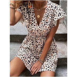 boho leopard print cream butterfly sleeve dress